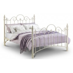 Florence Metal Bed Frame Stone White