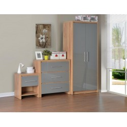Seville Bedroom Set Grey High Gloss