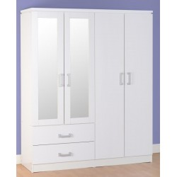 Charles 4 Door 2 Drawer Mirrored Wardrobe in White