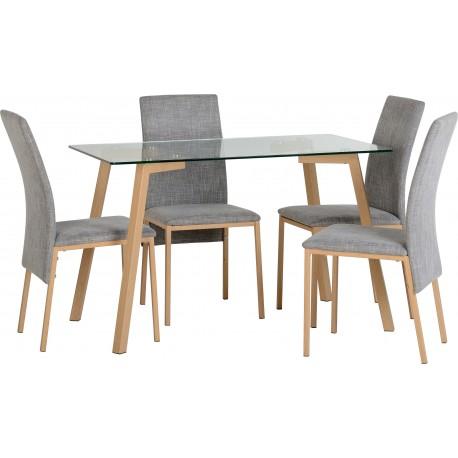 Morton Dining Set in Clear Glass/Oak Effect Veneer/Grey Fabric
