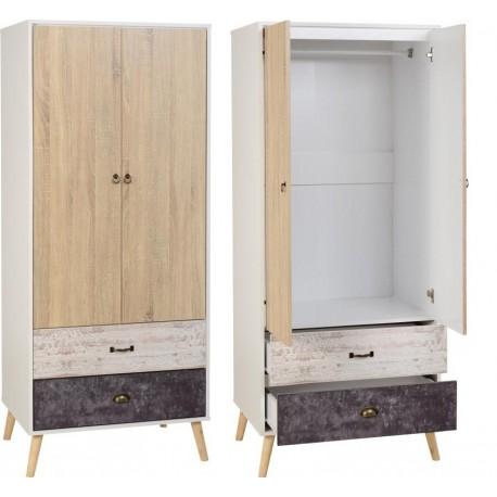 Nordic 2 door 2 draw wardrobe