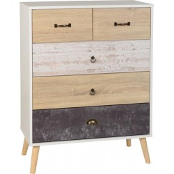 Nordic 3+2 Drawer Chest in White/Distressed Effect