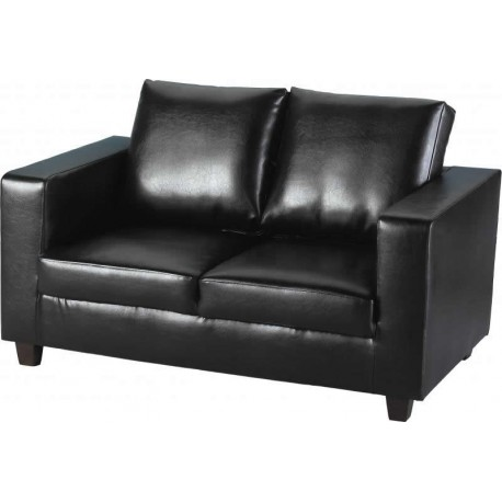 Tempo Two Seater Sofa-in-a-Box in Black Faux Leather