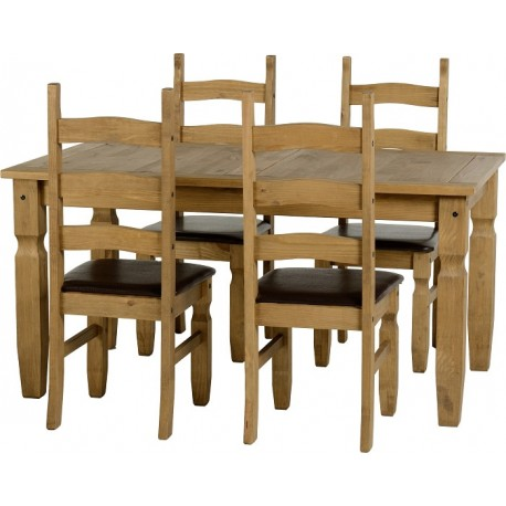 Corona 5' Dining Set in Distressed Waxed Pine/Brown Faux Leather