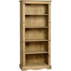 Corona Tall Bookcase in Distressed Waxed Pine