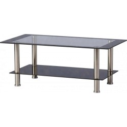Harlequin Coffee Table in Clear Glass/Black Border/Black Glass/Silver