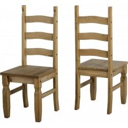 2 x Corona Chair in Distressed Waxed Pine