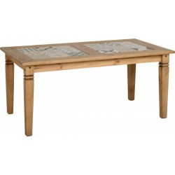 Salvador Tile Top Dining Table in Distressed Waxed Pine