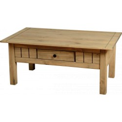Panama 1 Drawer Coffee Table in Natural Wax