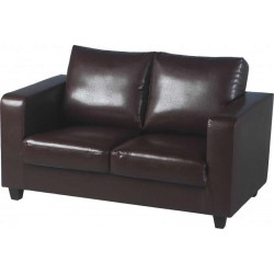Tempo Two Seater Sofa Brown Faux Leather