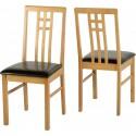 Vienna Chair in Medium Oak/Brown Faux Leather