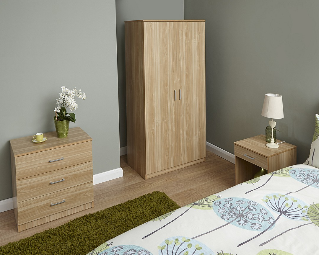 PANAMA 3 Piece Bedroom Set In Oak - Brixton Beds