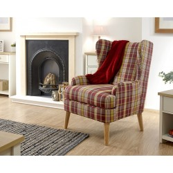 HAMISH CHECKERED WING CHAIR PURPLE CHECK