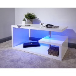 POLAR LED Coffee Table In White High Gloss