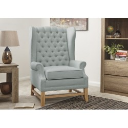REGENT High Back Buttoned Wing Chair Mint
