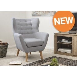 STANLEY Modern Buttoned Wing Chair Sky