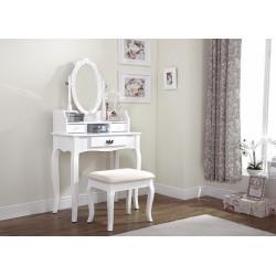 LUMBERTON Dressing Table & Stool Set In White