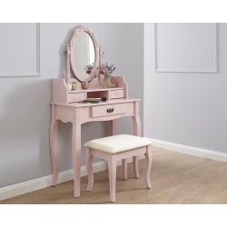 LUMBERTON Dressing Table & Stool Set In Pink