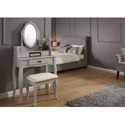 LUMBERTON Dressing Table & Stool Set In Grey