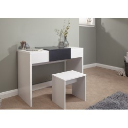 MARLOW Dressing Table Set Black + White Top