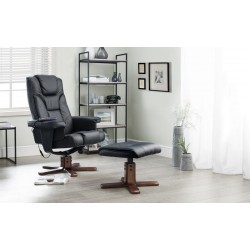 Malmo Massage Recliner Chair & Stool - Black