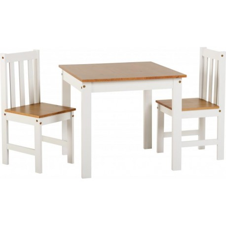 Ludlow 1plus 2 Dining Set in White Oak Lacquer