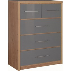 Seville 3+2 Drawer Chest in /Grey High Gloss