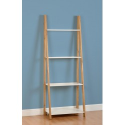 Santos 4 Shelf Unit in White/Distressed Waxed Pine