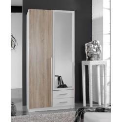 Artic White and Oak effect 2 Door / 2 Drawer Wardrobe