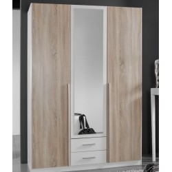 Artic White and Oak Effect 3 Door / 2 Drawer Wardrobe