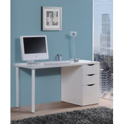 Blanco White Gloss Desk With 3 Drawers