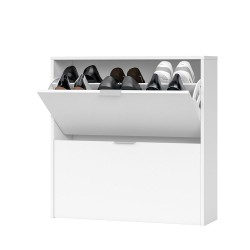 Brilo Matt White 2 Drawer Shoe Cabinet