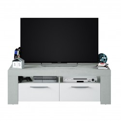 Curro White Gloss and Grey TV Cabinet Entertainment Unit