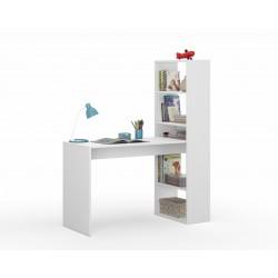 Double Computer Desk Table with Bookcase Matt White