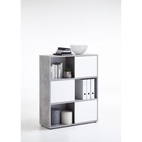 Luiz Concrete Grey and White Short Bookcase