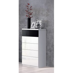 Madrid Balck and White Gloss Tall Chest Of Drawers