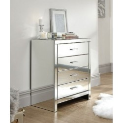 VENETIAN 4 DRAWER BEDSIDE REFLECTIVE MIRRORED FINISH