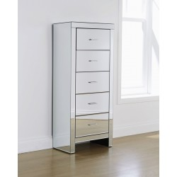 VENETIAN 5 DRAWER TALLBOY REFLECTIVE MIRRORED FINISH