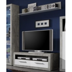 Pietra 120cm TV Cabinet Grey and White Gloss