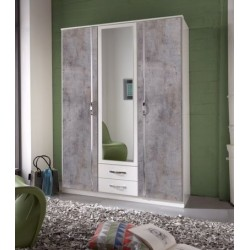 Ramina Concrete Grey and White 3 Door 2 Drawer German Wardrobe