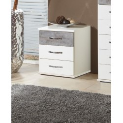 Ramina Concrete Grey And White 3 Drawer Bedside