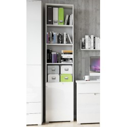 Santino Tall Narrow Bookcase with White Gloss Door S12