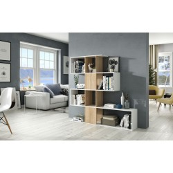 Zaga White And Oak Effect Gloss Bookcase