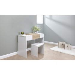MARLOW Dressing Table Set In White/Oak Top