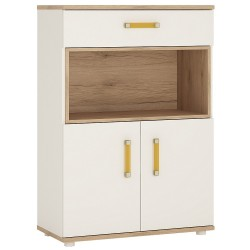 4KIDS 2 door 1 drawer cupboard with open shelf with orange handles