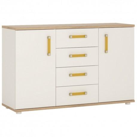 4KIDS 2 door 4 drawer sideboard with orange handles