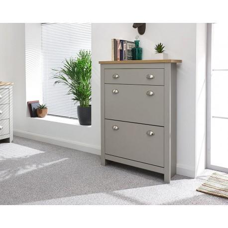 LANCASTER 2 Door 1 Drawer Shoe Cabinet In Grey