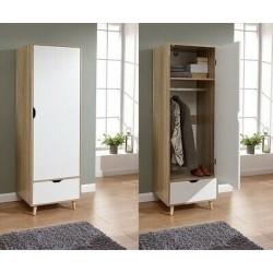 STOCKHOLM 1 Door Wardrobe In White / Oak