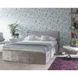END LIFT OTTOMAN Crushed Velvet Bedstead In Silver