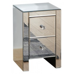 MIRRORED 2 DRAWER SLIM CHEST CLEAR GLASS